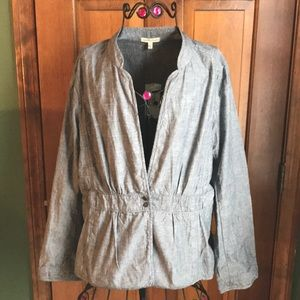 NWT Eileen Fisher Jacket Blue Large 100% Cotton